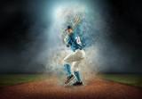 Baseball player in dynamic action around splash drops under stad - 195897944