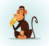 Happy smiling monkey character eating banana. Vector cartoon illustration - 195897948