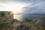 View from castle  Palamidi/ Panoramic view of the sunset from fortress Palamidi in Nafplion - 195910956