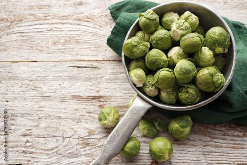 Deurstickers Brussel Raw organic Brussels sprouts