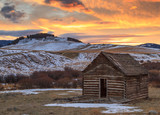 Old Homestead Cabin at Sunset - 195925539