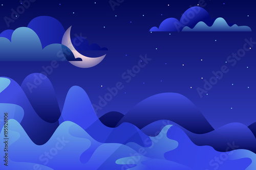 Aluminium Donkerblauw Abstract night landscape, vector hand drawn illustration. Blue mountains and moon on sky. Nature horizontal background with copy space.