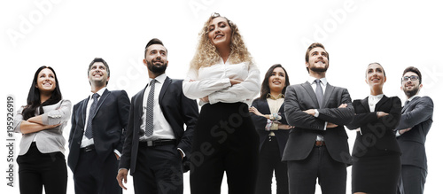 happy successful business team isolated on white background - 195926919