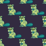 Funny beaver seamless pattern. Cartoon style pattern design. - 195931540
