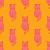 Cool cat seamless pattern. Cartoon style pattern design. - 195932350
