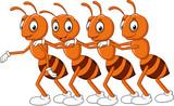 Cartoon Line Of Worker Ants  Wall Sticker