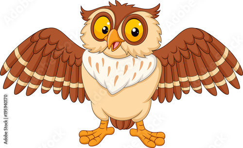 Tuinposter Uilen cartoon Cartoon happy owl isolated on white background
