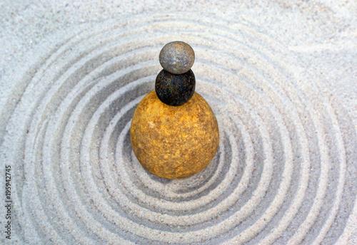 Foto op Aluminium Stenen in het Zand zen, sand, stone, abstract, circle, water, zen garden, meditation, garden, pattern, rock, texture, harmony, balance, spa, spiritual, simplicity, stones, spirituality, spiral, concentration, drop, whit