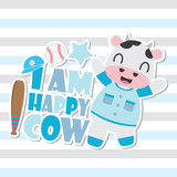 Cute happy cow vector cartoon illustration for Kid t-shirt background design, postcard, and wallpaper