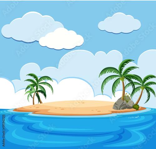 Fotobehang Pool Background scene of island in the ocean