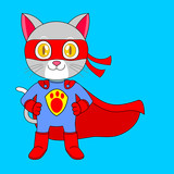 red blue supercat with hero stand
