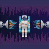 Vector icon of astronaut with sound radar in space - 195954567