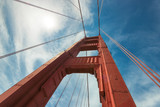 Golden Gate Bridge, A closeup perspective of the North tower of bridge support on a sunny day in San Francisco, California.