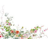 watercolor painting of leaves and flower, on white background - 195960903