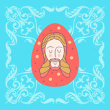 Christ is risen!  Easter vector illustration. Pascaline egg with the image of Jesus. - 195960914