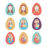 Happy Easter! Vector illustration.  Jesus Christ. Easter egg. - 195960934