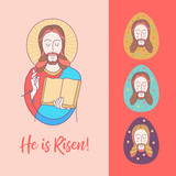 Happy Easter! Vector illustration.  Jesus Christ. Easter egg. - 195960936