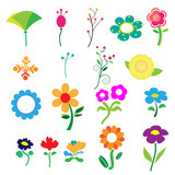 Cute colorful flower on white background