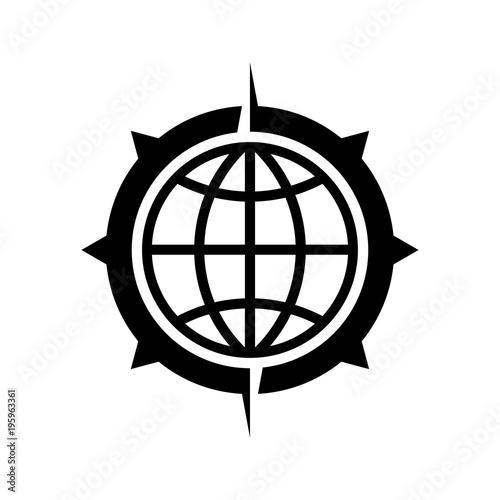 Icono plano mundo en brujula en color negro
