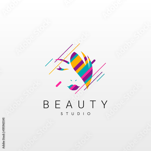 Beauty logo. Abstract Beauty logo design, made of various geometric shapes in color.  - 195965541