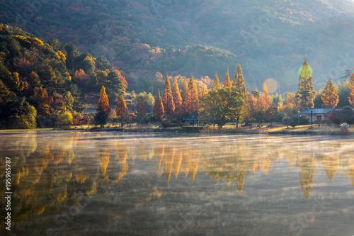 물안개가 피어오르는 아름다운 호수