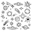 Space doodle vector elements. Hand drawn stars, comets, planets and moon in sky - 195969152