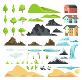 Fototapety Cartoon landscape vector elements with mountains, hills, tropical trees and buildings