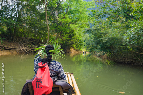 Fotobehang Bamboe Thailand, Phuket, 2017 - Klong Sok Bamboo Raft