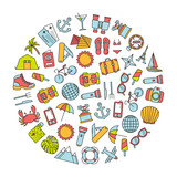 round design element with colorful traveling icons - 195974394