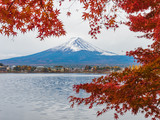 Fuji mountain with red maple and cloudy in foreground .