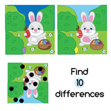 Find the differences educational children game. Kids activity sheet with Egg hunt rabbit. Easter theme