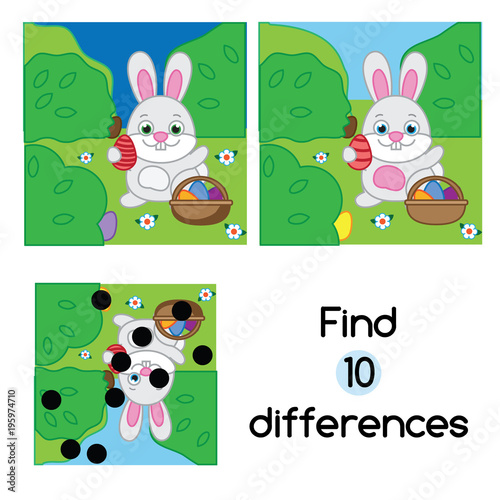 Wall mural Find the differences educational children game. Kids activity sheet with Egg hunt rabbit. Easter theme