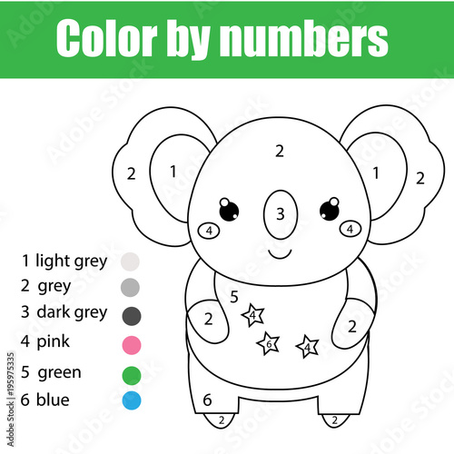 Children educational game. Coloring page with cute koala. Color by numbers, printable activity