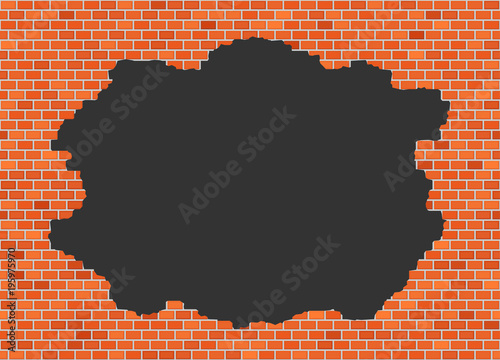 Fototapeta Vector brick broken wall background with big dark hole