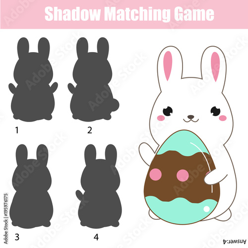 Shadow matching game. Easter theme activity for kids and toddlers. Rabbit holding egg