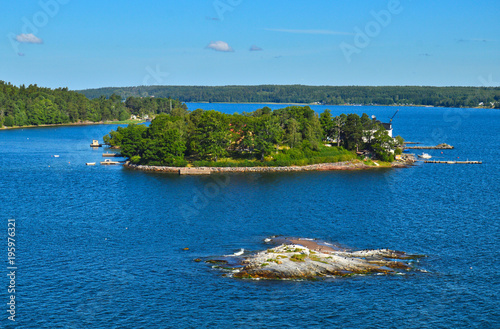 Foto op Aluminium Stockholm Swedish settlements on islets of Stockholm Archipelago in Baltic Sea, Sweden