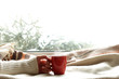 warm home atmosphere with a drink/ Hands in a sweater is holding a red mug on the background of a window overlooking  snow-covered green tree