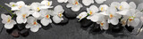 White orchids flowers and spa stones . - 195978372