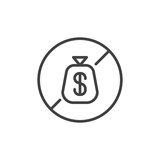 No dollar money bag outline icon. linear style sign for mobile concept and web design. bankruptcy simple line vector icon. Symbol, logo illustration. Pixel perfect vector graphics - 195979193