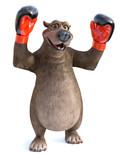 3D rendering of cartoon bear wearing boxing gloves.