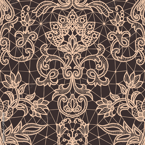 Poster Seamless beige lace