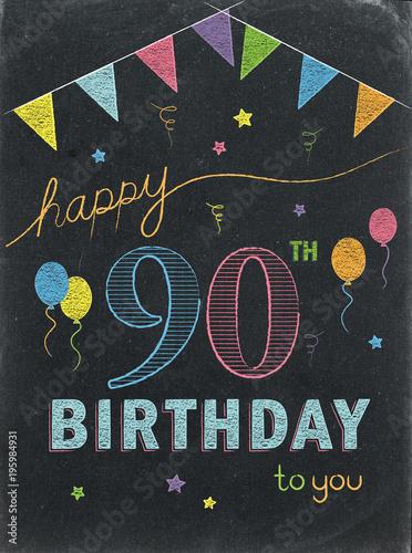 HAPPY 90th BIRTHDAY Chalkboard Card