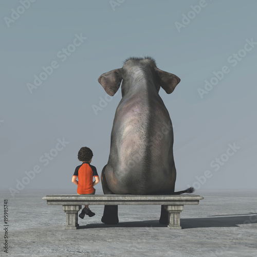 Little boy and an elephant sits on a bank