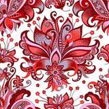 seamless pattern with  gray  and red flowers  - 195989133