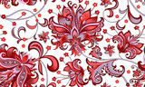 seamless pattern with  gray  and red flowers  - 195989166