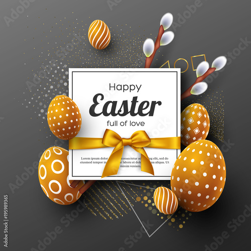 Easter holiday greeting card. 3d decorative eggs with golden bow and willow branches. Abstract geometric background. Vector illustration.
