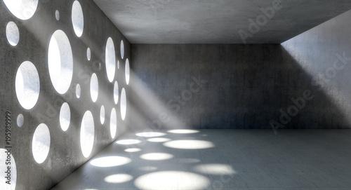 Foto op Plexiglas Betonbehang circle holes windows