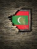 Old Maldives flag in brick wall - 195993977