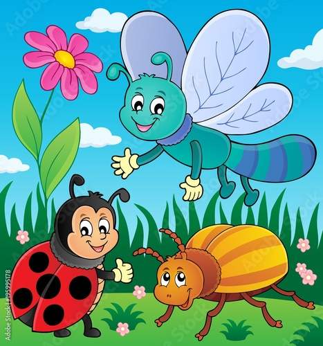Fotobehang Voor kinderen Spring animals and insect theme image 9