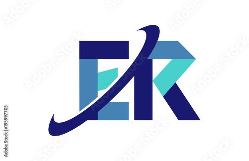 ER Ellipse Swoosh Ribbon Letter Logo